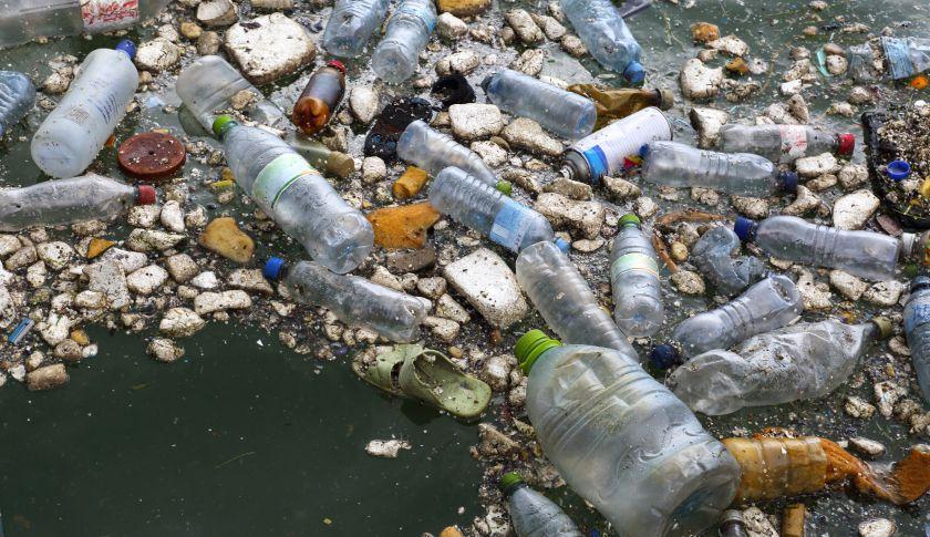 Rubbish floating in Naifaru Harbour, Maldives, Indian Ocean, 25th January, 2015.